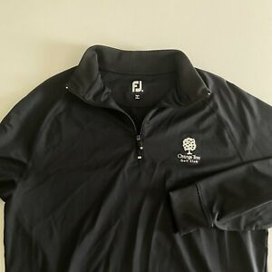 Footjoy FJ Mens Medium L/S Black 1/4 Zip Orange Tree Golf Club Pullover