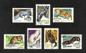Russia 1967 Fur-bearing Animals complete set of 7 values (SG 3452-3458) used