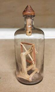 Antique Wood Yarn Winder in a Bottle Scandinavian Folk Art Whimsy c. 1900