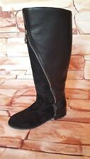 ARMANI €349 Genuine Women's Casual Fashion Black Leather Knee Boots Size 37 UK 4