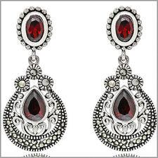 Thai Sterling Silver Pear Post Dangle CZ Marcasite Earrings Garnet Red #53116