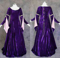 Purple Velvet Medieval Renaissance Gown Dress Cosplay Costume LOTR Wedding M