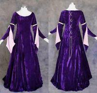 Purple Velvet Medieval Renaissance Gown Dress Cosplay Costume LOTR Wedding M