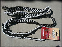 TOUGH-1 KNOTTED CORD BARREL REINS POLY WESTERN 7 FT ZEBRA BLACK HORSE TACK