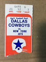 1969 Dallas Cowboys vs NY Jets Exhibition Football GameTicket Stub GOOD+