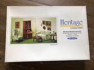 """New Vtg 1974 """"Realife Miniatures"""" Heritage Series Living Room Kit Dollhouse Wood"""