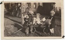 CHRISTMAS KIDS TOYS WAGON DOLLS STUFFED BEAR OLD/VINTAGE PHOTO-SNAPSHOT-B3290
