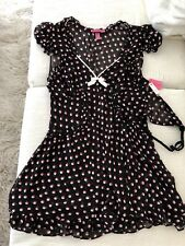 Hot Pink and White Polka Dot Sheer Black BETSEY JOHNSON Babydoll Nightie L NWT