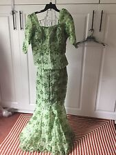 African SPECIAL occasion Wedding  Mermaid skirt & blouse LACE green  sz 12 NEW