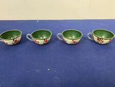 Four Vintage Ohio Art Tin Tea Cups with Floral Design D