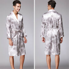 Men Silk Blend Bathrobe Dragon Pattern Loose Fit Spa Sleep Robe Kimono Nightgown