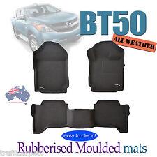 To suit Mazda BT50 Dual Crew Cab 2012 to 2018 - 3D Black Rubber Car Floor Mats
