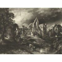 David Lucas Castle Acre Priory 1838 Painting Large Wall Art Print 18X24 In