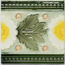 Alte Reliefkachel Wandkachel Kachel Fliese um 1900 Blatt Blumen 15 x 15 cm