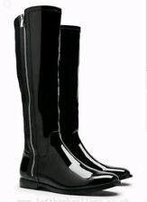 NEXT STYLISH BLACK PATENT / SUEDE ZIP LONG/ RIDER BOOTS SIZE 4 RRP £60 BNWT