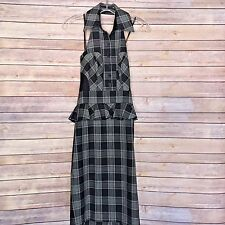 NWT Bebe Women's Black White Plaid Pencil Halter Dress Size 2 NEW