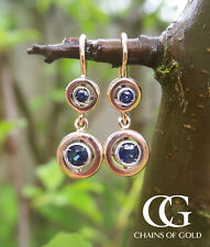 Fine Deco Inspired 9ct Rose Gold & Blue Sapphire Double Target Drop Earrings
