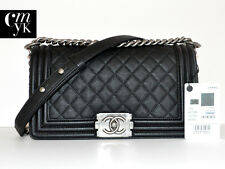 NEW CHANEL BOY BLACK CAVIAR OLD MEDIUM RUTHENIUM HW CLASSIC FLAP BAG ~RARE