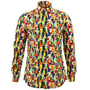 Mens Shirt Loud Originals TAILORED FIT Paint Multicoloured Retro Psychedelic