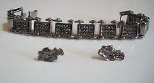 Men's Hematite finish fashion dressy/casual  bracelet & nuggets earring