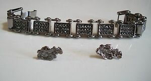 Men's Bling hematite finish fashion dressy hip hop bracelet & nuggets earring