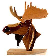 Moose Head Intarsia Wood Table Top Home Decor Lodge New