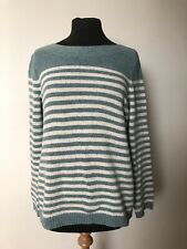 Fat Face Sea Foam Green / Cream Marl Striped Jumper Long Sleeve Size 14 Cotton