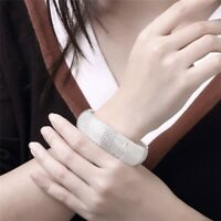 925 Sterling Silver Woven Bracelet Women's Wedding Large Closed Mesh Bracelet