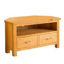Oak Corner TV Stand Unit with Drawer Shelf Newlyn Solid Wood Furniture Cabinet