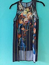 CLOVER CANYON Smoke Tie GEORGE BERNARD SHAW Floral Striped Print Tank Top XS