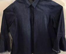 Lane Bryant Womens Denim Shirt Blue Button Sz 18 Long Sleeve Casual NWT