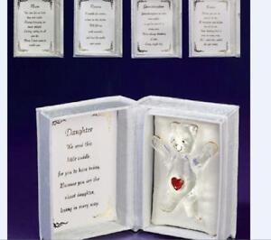 TEDDY BEAR CUDDLE IN A BOX FOR MUM GLASS TEDDY & POEM GIFT