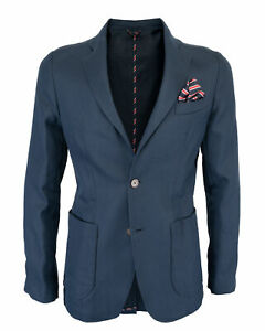 NWT ZEROSETTANTA STUDIO LANDI BLAZER blue cotton linen luxury Italy 52 us 42