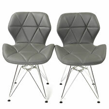REBOXED 2x Dining Office Chairs Chrome Legs Home Furniture Padded PU Grey Set