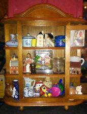 Vgt Tabletop Wall Mount Wood Glass Curio Miniature Cabinet With Knickknacks