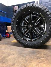 "22x10 Fuel Maverick D538 Black Wheel Tire Package 35"" Mt 8x6.5 Dodge Ram 2500"