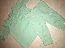 BABY GIRLS SIZE 6 MONTHS CARTER'S TWO PIECE MINT GREEN BUNNY OUTFIT SET EASTER !
