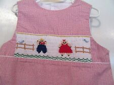 GIRL'S - SIZE 6 - SMOCKED DRESS W/BOY/GIRL PIGS ACROSS FRONT, RED/WHITE