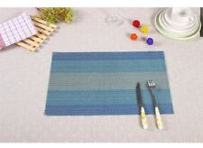 4pcs Blue Vinyl PVC Weave Placemat Dining Table Mat Pad Woven Rectangle