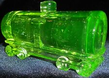 Green Vaseline glass train Tanker box car uranium yellow canary railroad RR art