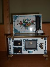 MINIATURE TIN STOVE - BLUE FLORAL  - MADE IN GERMANY