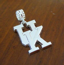 UNIVERSITY KENTUCKY WILDCATS LARGE SILVER UK EURO DANGLE CHARM PENDANT necklace