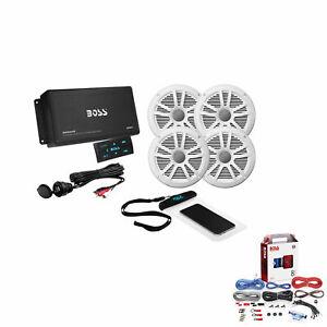 Boss Marine Audio Amplifier & Speakers Bundle With KIT2 Installation Wiring Kit