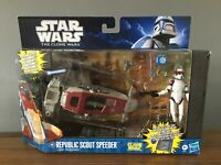 Star wars Clone Wars Republic Scout Speeder Vehicle w/ ARF Trooper Hasbro 2011