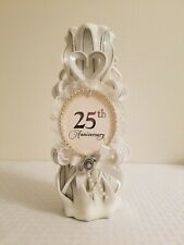 25th silver wedding anniversary candle waxworks 1993 hand carved custom made