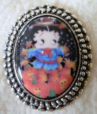 Scarecrow BETTY BOOP Pumpkin Patch Porcelain Cameo Brooch Pendant Combo Miss-art