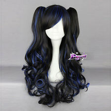 Black Mixed Blue 60cm Curly Long Lolita Harajuku Cosplay Wig with 2 Ponytails