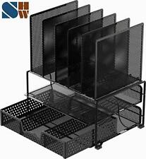 Mesh Desk Organizer with Sliding Drawer, Double Tray and 5 Upright Sections