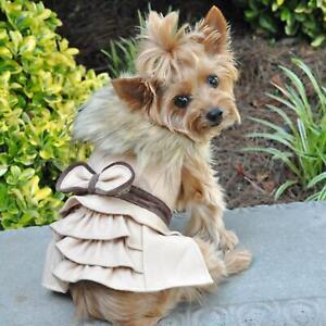 Wool Fur-Trimmed Dog Harness Coat by Doggie Design - Camel