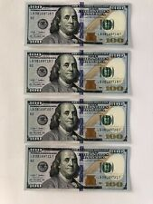 Four Uncirculated $100 One Hundred Dollar Bill in Sequential Consecutive Order